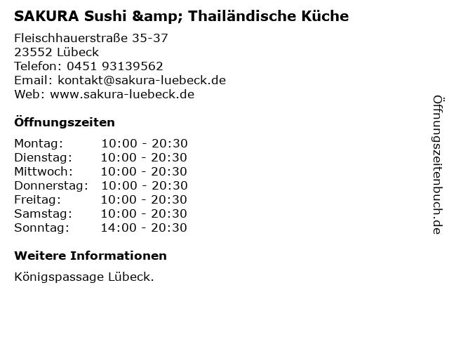 SAKURA Sushi & Thailändische Küche in Lübeck: Adresse und Öffnungszeiten