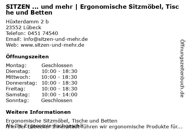SITZEN ... und mehr | Ergonomische Sitzmöbel, Tische und Betten in Lübeck: Adresse und Öffnungszeiten
