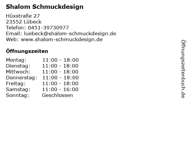 Shalom Schmuckdesign in Lübeck: Adresse und Öffnungszeiten
