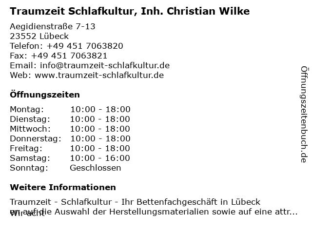 Traumzeit Schlafkultur, Inh. Christian Wilke in Lübeck: Adresse und Öffnungszeiten
