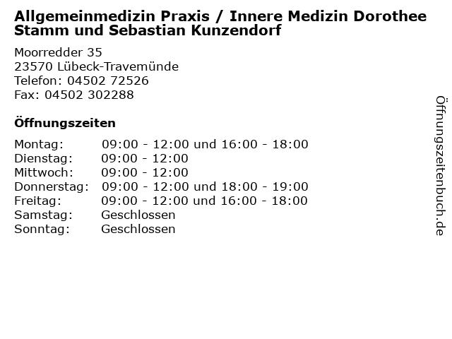 Allgemeinmedizin Praxis / Innere Medizin Dorothee Stamm und Sebastian Kunzendorf in Lübeck-Travemünde: Adresse und Öffnungszeiten