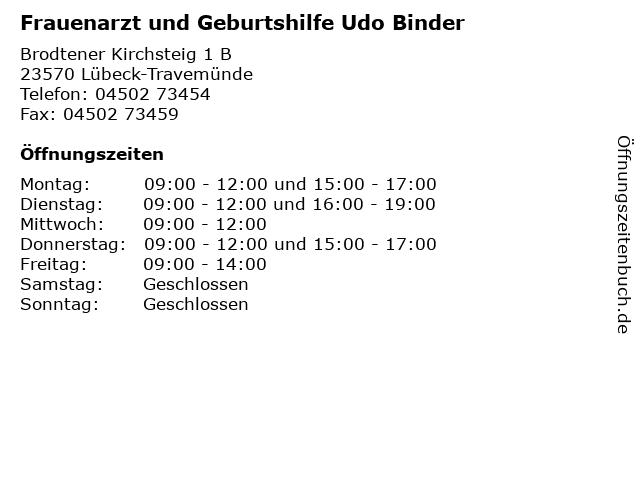 Frauenarzt und Geburtshilfe Udo Binder in Lübeck-Travemünde: Adresse und Öffnungszeiten