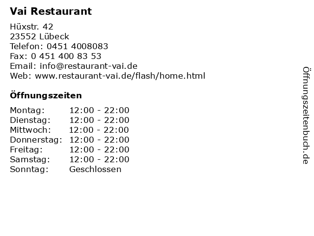 Vai Restaurant in Lübeck: Adresse und Öffnungszeiten
