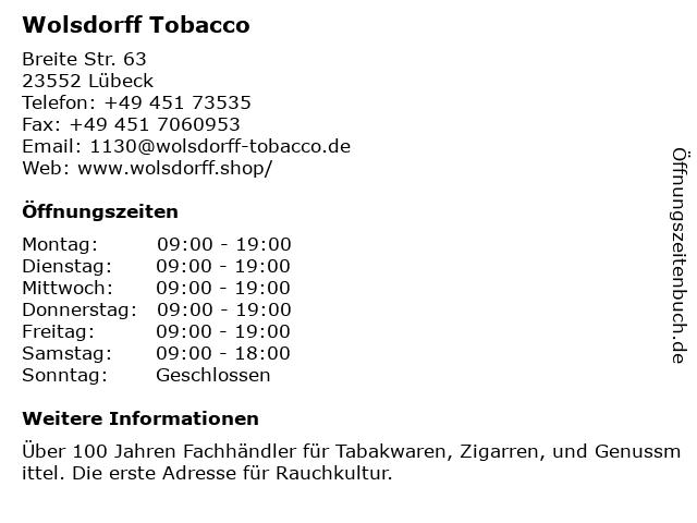 Wolsdorff Tobacco in Lübeck: Adresse und Öffnungszeiten