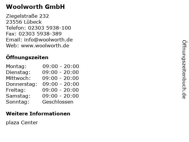 Woolworth GmbH in Lübeck: Adresse und Öffnungszeiten