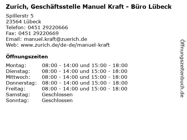 Zurich, Geschäftsstelle Manuel Kraft - Büro Lübeck in Lübeck: Adresse und Öffnungszeiten