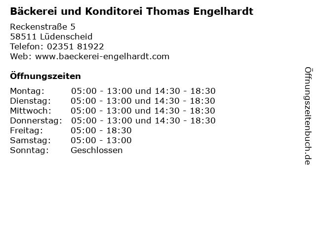 Bäckerei und Konditorei Thomas Engelhardt in Lüdenscheid: Adresse und Öffnungszeiten