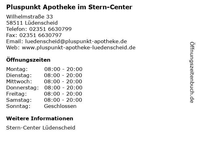 Pluspunkt Apotheke im Stern-Center in Lüdenscheid: Adresse und Öffnungszeiten