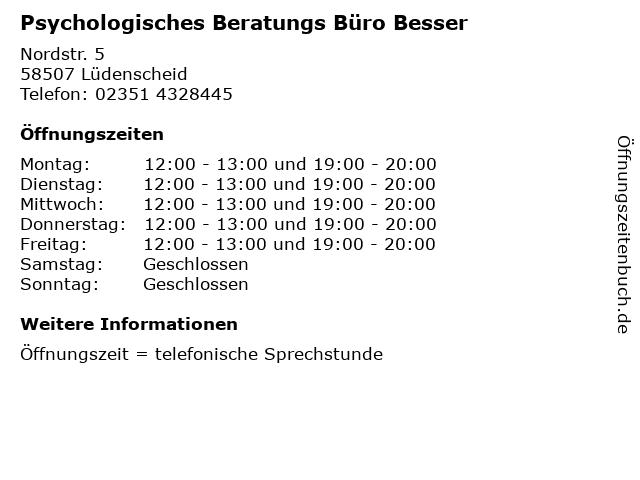 Psychologisches Beratungs Büro Besser in Lüdenscheid: Adresse und Öffnungszeiten