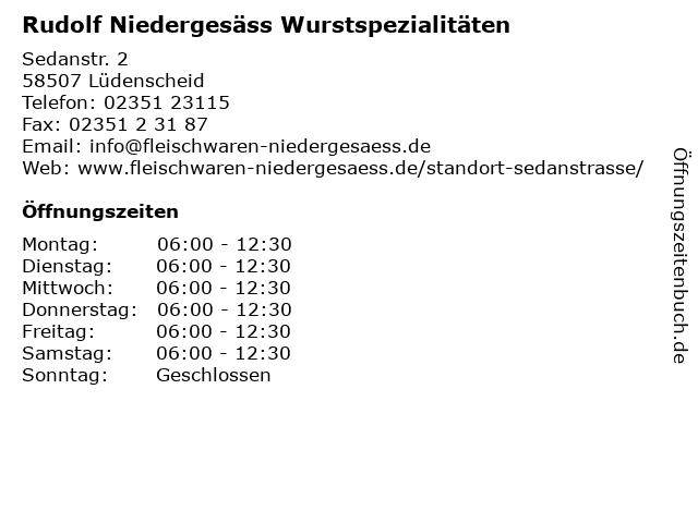 Rudolf Niedergesäss Wurstspezialitäten in Lüdenscheid: Adresse und Öffnungszeiten