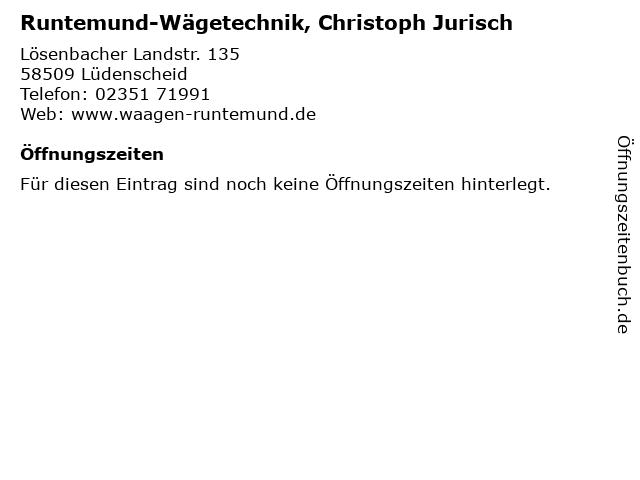 Runtemund-Wägetechnik, Christoph Jurisch in Lüdenscheid: Adresse und Öffnungszeiten