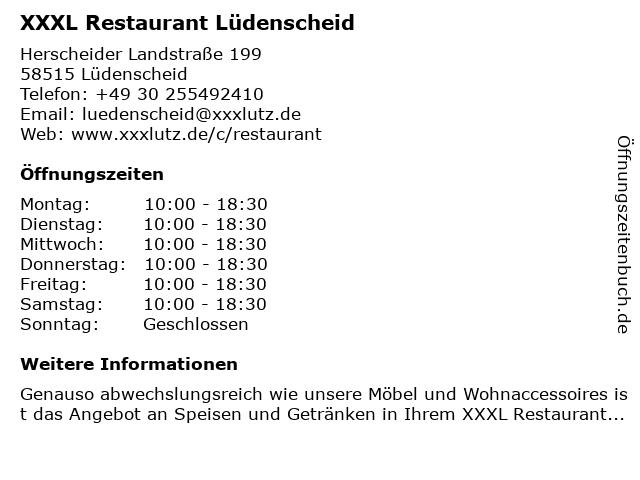 ᐅ öffnungszeiten Xxxl Restaurant Lüdenscheid Herscheider