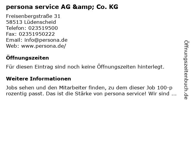 persona service AG & Co. KG in Lüdenscheid: Adresse und Öffnungszeiten