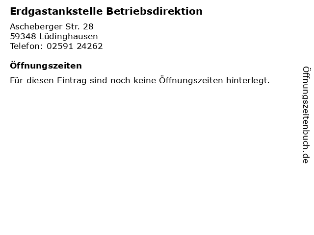 Erdgastankstelle Betriebsdirektion in Lüdinghausen: Adresse und Öffnungszeiten