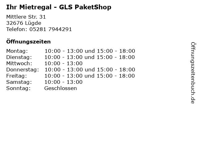 Ihr Mietregal - GLS PaketShop in Lügde: Adresse und Öffnungszeiten