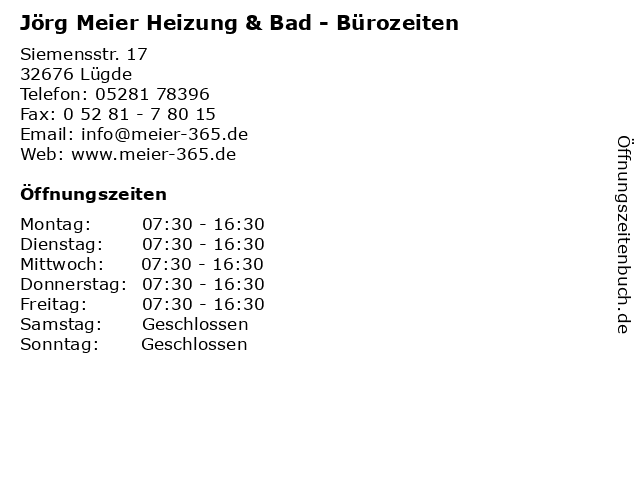 Jörg Meier Heizung & Bad - Bürozeiten in Lügde: Adresse und Öffnungszeiten