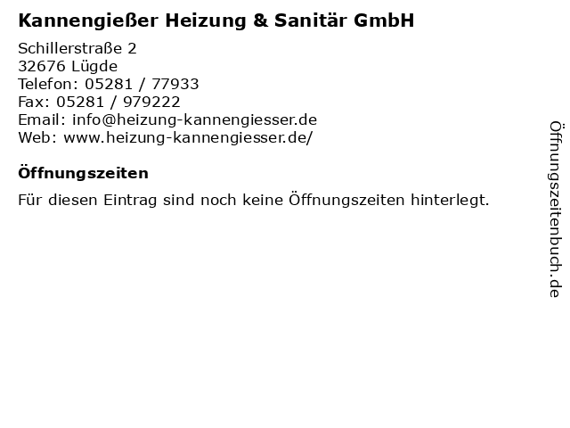Kannengießer Heizung & Sanitär GmbH in Lügde: Adresse und Öffnungszeiten