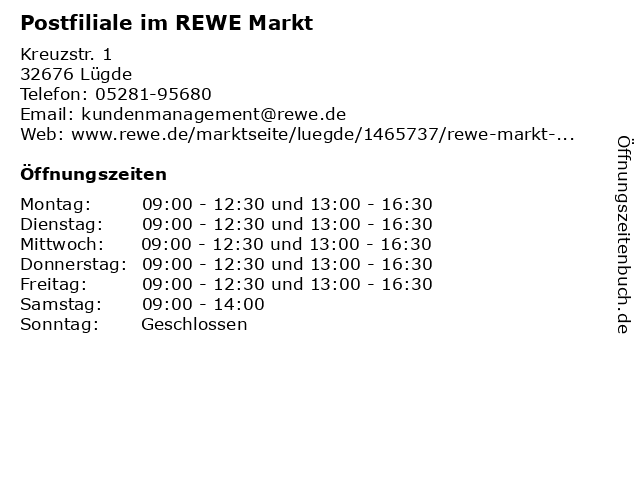 Postfiliale im REWE Markt in Lügde: Adresse und Öffnungszeiten