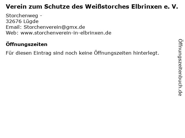 Verein zum Schutze des Weißstorches Elbrinxen e. V. in Lügde: Adresse und Öffnungszeiten
