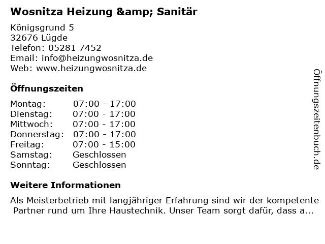 Wosnitza Heizung & Sanitär in Lügde: Adresse und Öffnungszeiten