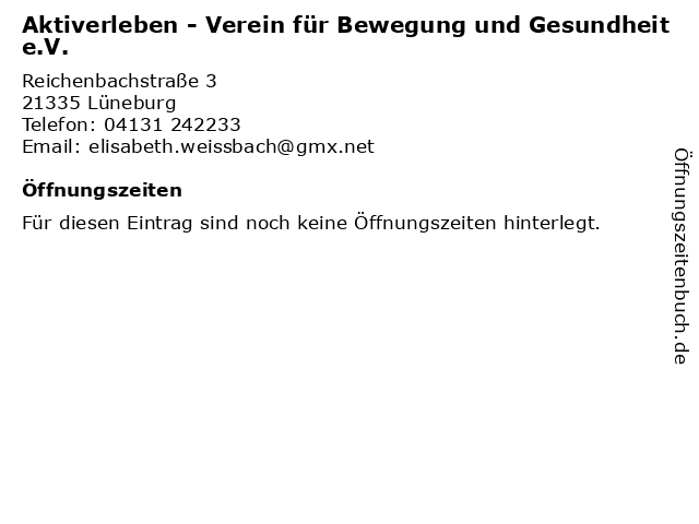 Aktiverleben - Verein für Bewegung und Gesundheit e.V. in Lüneburg: Adresse und Öffnungszeiten