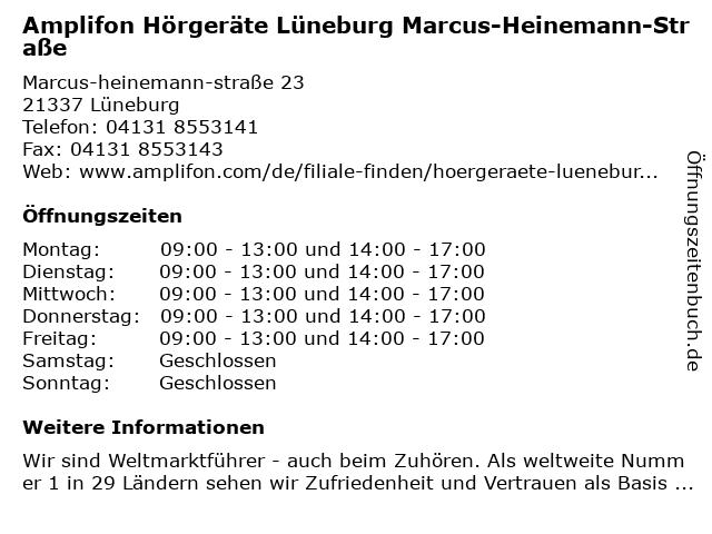 Amplifon Hörgeräte in Lüneburg: Adresse und Öffnungszeiten