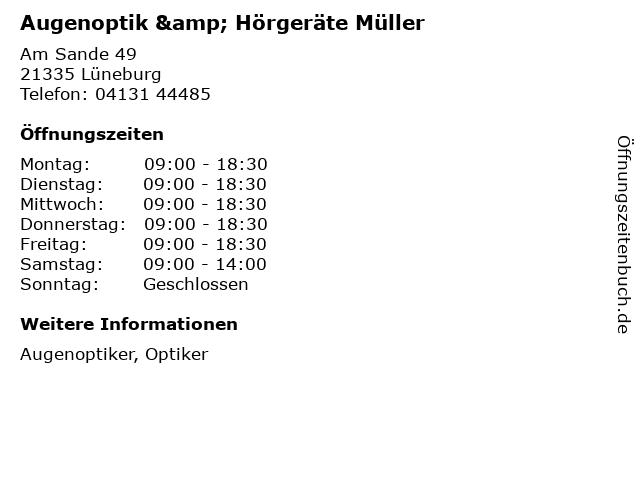 Augenoptik & Hörgeräte Müller in Lüneburg: Adresse und Öffnungszeiten