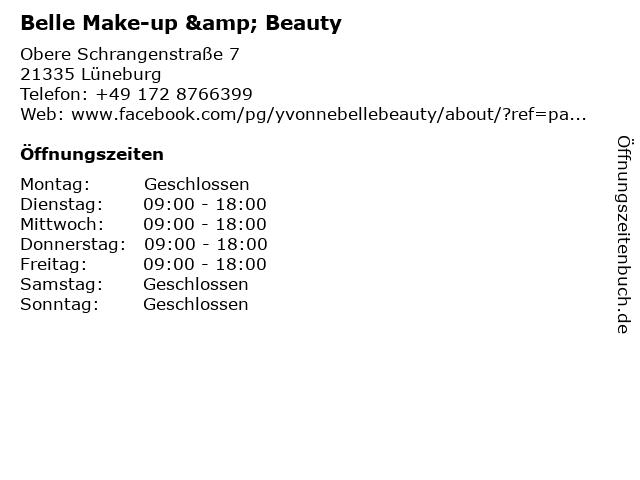 Belle Make-up & Beauty in Lüneburg: Adresse und Öffnungszeiten