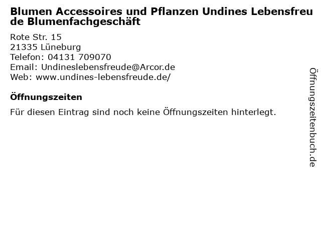 Blumen Accessoires und Pflanzen Undines Lebensfreude Blumenfachgeschäft in Lüneburg: Adresse und Öffnungszeiten