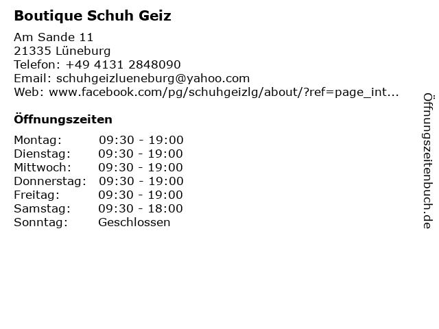 Boutique Schuh Geiz in Lüneburg: Adresse und Öffnungszeiten