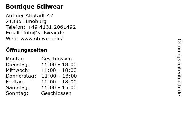 Boutique Stilwear in Lüneburg: Adresse und Öffnungszeiten