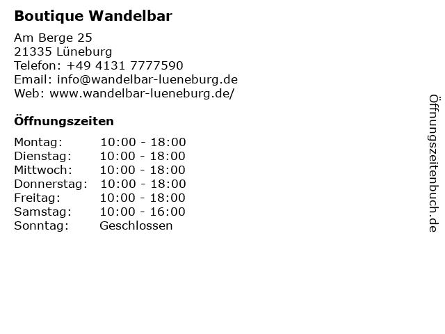 Boutique Wandelbar in Lüneburg: Adresse und Öffnungszeiten