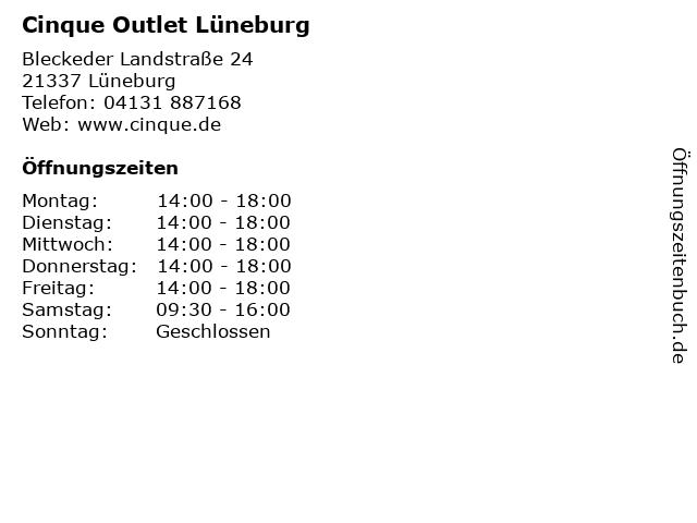 Cinque Outlet Lüneburg in Lüneburg: Adresse und Öffnungszeiten