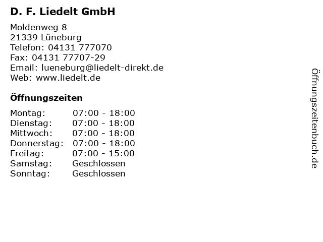 D. F. Liedelt GmbH in Lüneburg: Adresse und Öffnungszeiten