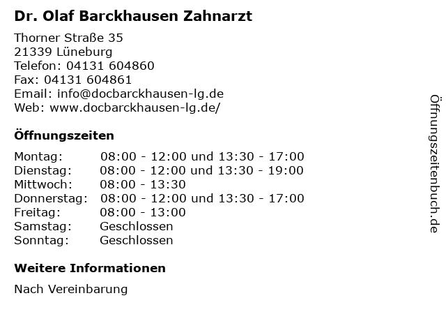 Dr. Olaf Barckhausen Zahnarzt in Lüneburg: Adresse und Öffnungszeiten