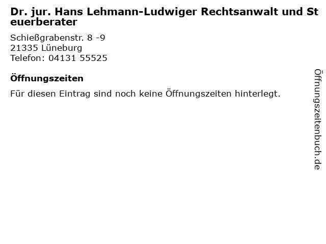Dr. jur. Hans Lehmann-Ludwiger Rechtsanwalt und Steuerberater in Lüneburg: Adresse und Öffnungszeiten