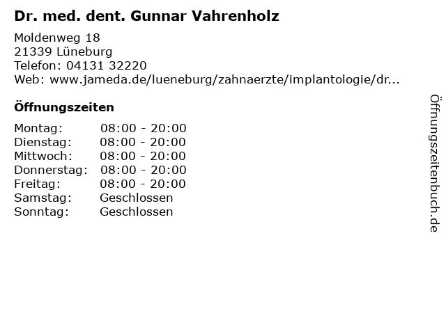Dr. med. dent. Gunnar Vahrenholz in Lüneburg: Adresse und Öffnungszeiten
