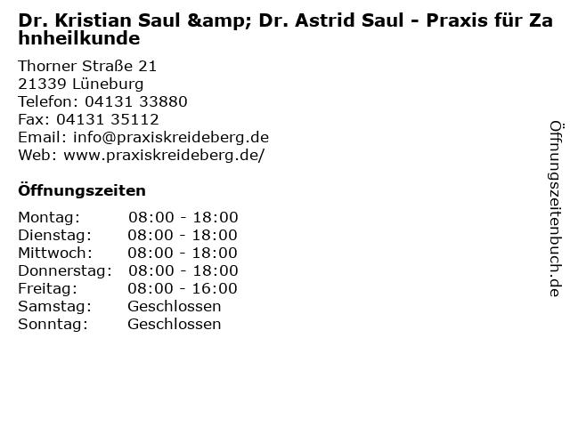 Dres. Volker, Kristian und Astrid Saul in Lüneburg: Adresse und Öffnungszeiten