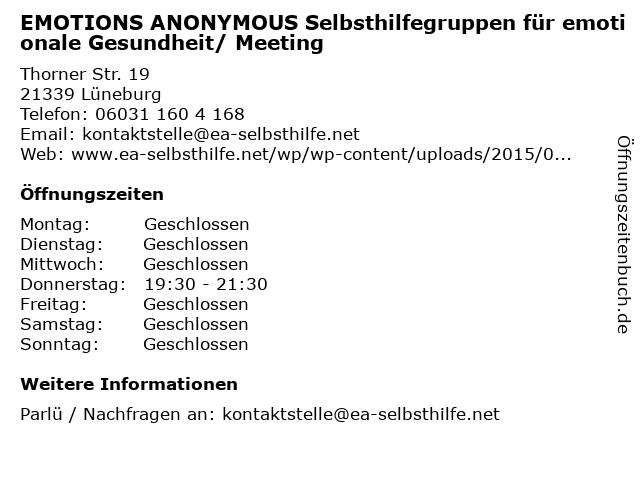 EMOTIONS ANONYMOUS Selbsthilfegruppen für emotionale Gesundheit/ Meeting in Lüneburg: Adresse und Öffnungszeiten