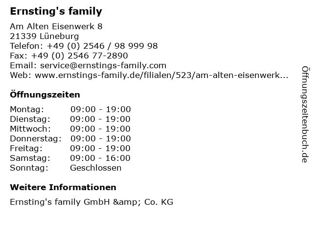 Ernsting's family in Lüneburg: Adresse und Öffnungszeiten