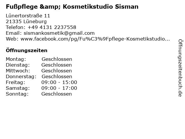 Fußpflege & Kosmetikstudio Sisman in Lüneburg: Adresse und Öffnungszeiten