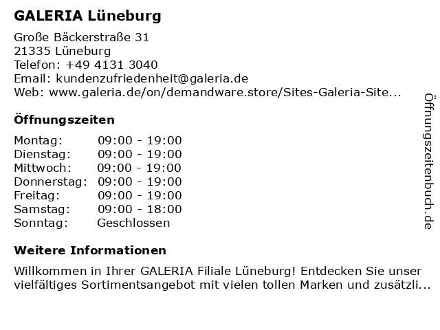 GALERIA (Karstadt) Lüneburg in Lüneburg: Adresse und Öffnungszeiten