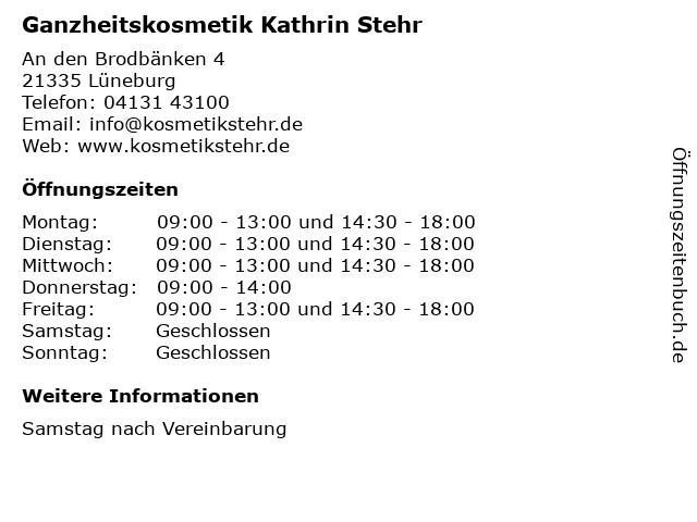 Ganzheitskosmetik Kathrin Stehr in Lüneburg: Adresse und Öffnungszeiten