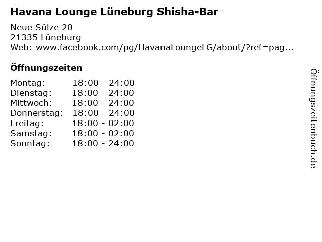 Havana Lounge Lüneburg Shisha-Bar in Lüneburg: Adresse und Öffnungszeiten