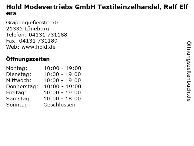 Hold Modevertriebs GmbH Textileinzelhandel, Ralf Elfers in Lüneburg: Adresse und Öffnungszeiten