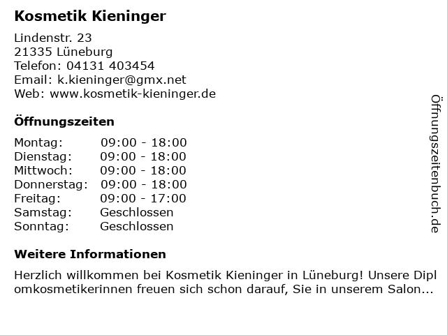 Kosmetik Kieninger in Lüneburg: Adresse und Öffnungszeiten