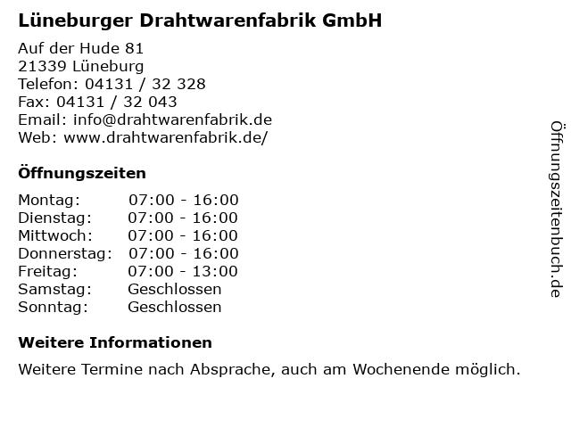 Lüneburger Drahtwarenfabrik GmbH in Lüneburg: Adresse und Öffnungszeiten
