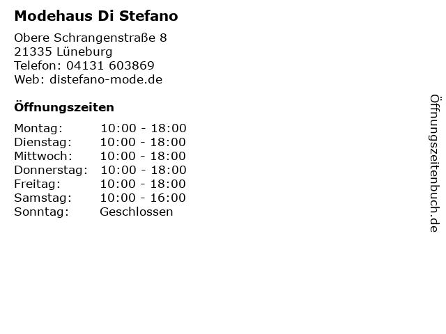 Modehaus Di Stefano in Lüneburg: Adresse und Öffnungszeiten