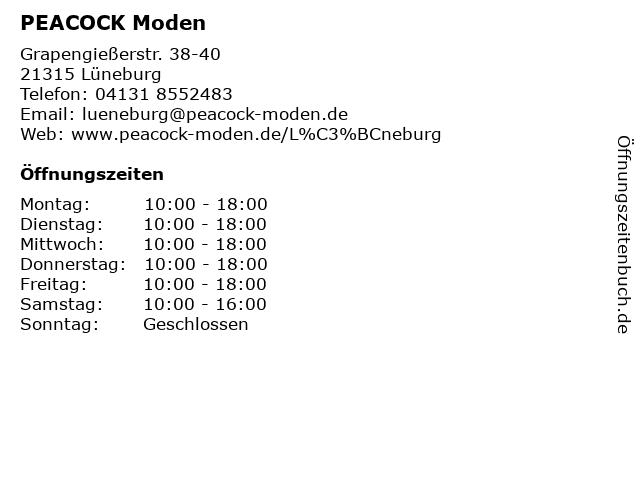 PEACOCK Moden in Lüneburg: Adresse und Öffnungszeiten
