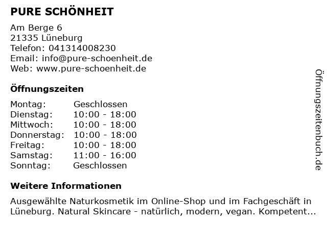 PURE SCHÖNHEIT in Lüneburg: Adresse und Öffnungszeiten